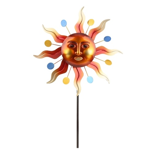 Tooarts Sunlight Face Windmill Stake Outdoor 3D Wind Spinner Iron Material Reflective Painting Yard Lawn and Garden Decoration Retro Style