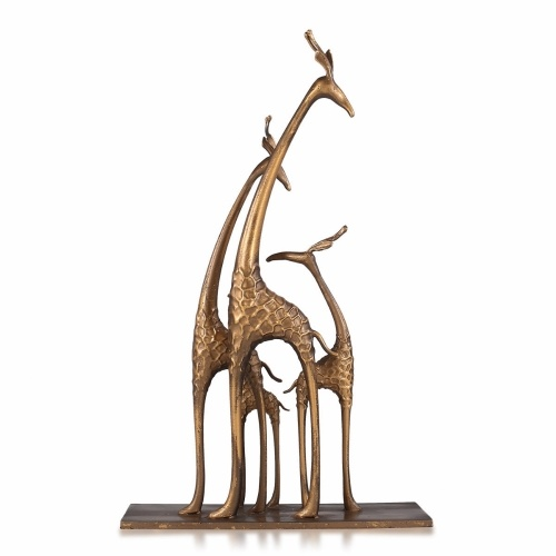 Famille de girafes Girafe avec bébé à collectionner de la faune Figurine Sculpture Statue de table Accent Sculpture Pièce maîtresse