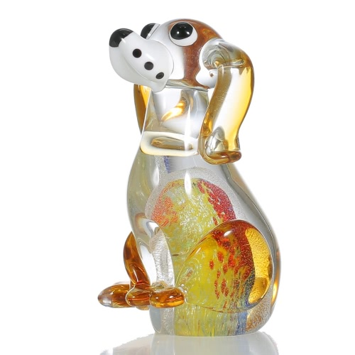 Tooarts Puppy Glass Skulptur Home Decor Tier Ornament Geschenk Handwerk Dekoration