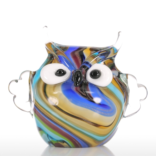 Tooarts coloridos búho de cristal ornamento Animal Figurine Handblown Home Decor