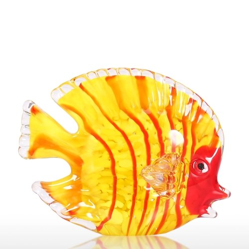 Glass Yellow Fish Hand Blown Glass Art Marine Yellow Fish Paperweight Decorative Figurine Home Decor