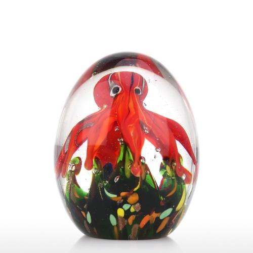Red Octopus Sculpture Handmade Glass Ornament Animal Figurine Tabletop Decoration Gift Craft Decoration