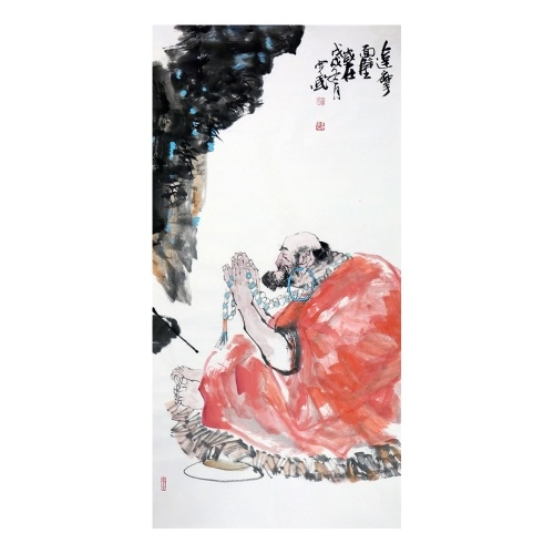 Bodhidharma Tu Wall Art Artist Hand-painted Traditional Chinese Painting Buddhism Cultural Work Home or Office Decor Carefully Package