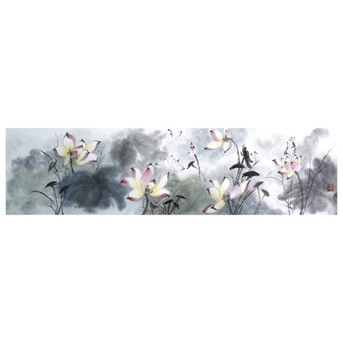Tooarts Lotus Pond in Moonlight Chinese Painting Wall Art Artist Hand-Painted Chinese Brush Painting Traditional Decoration Home Office Decoration Painting Carefully Packed