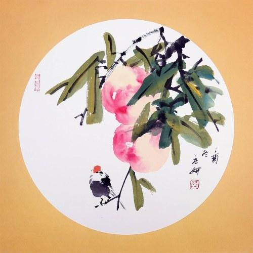 Art traditionnel chinois peinture Pêches peinture naturelle photo Art mural pour décor de salon