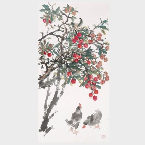 Litchi and Duck Traditional Chinese Ink Painting with High Collection Value Wall Art Home Decoration