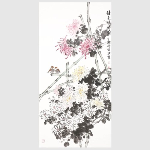 Autumn Chrysanthemum Chinese Ink Painting Style Wall Art for Office Home Decor Hanging Artwork