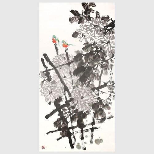 Autumn Chrysanthemum and Bird Chinese Freehand Ink Painting Chrysanthemum Flower Painting Wall Art Home Decor