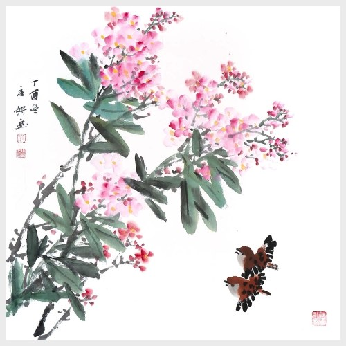 Flowers in Full Blossom Flower and Bird Painting Landscape Wall Art for Home Office Living Room Decoration Gift