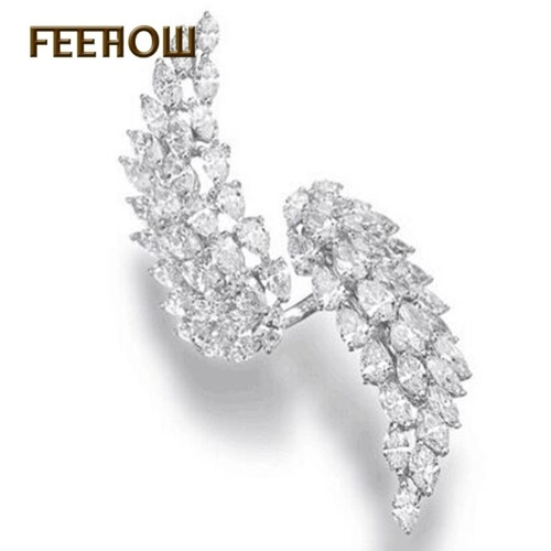 FEEHOW female models diamonds simple ring