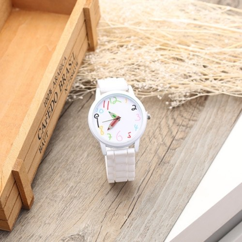 Unisex Watch Casual Cute Cartoon Watch Wristwatch for Students Teengaer Teen Girls Men Women with Pencil Pointer Silicone Strap Band фото