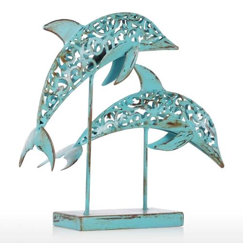 Два голубых дельфина Железо ручной работы Статуя Статуя Орнамент Морская жизнь Ретро-эффект