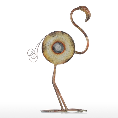 Flamingo Uhr Handgefertigte Vintage Metall Flamingo Figur Stummt Tischuhr