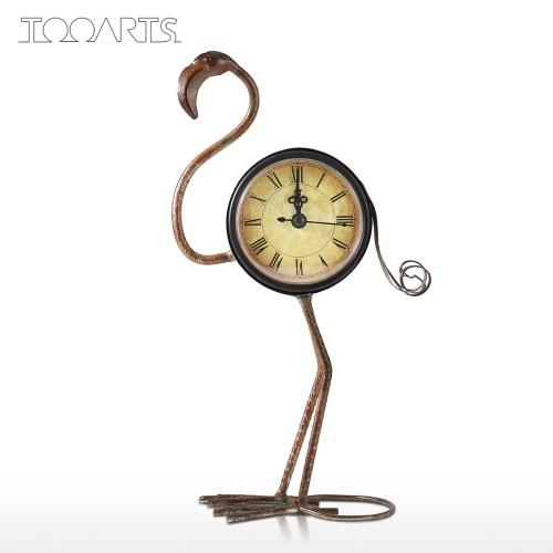 Flamingo Clock Handmade Vintage Metal Flamingo Figurine Mute Table Clock