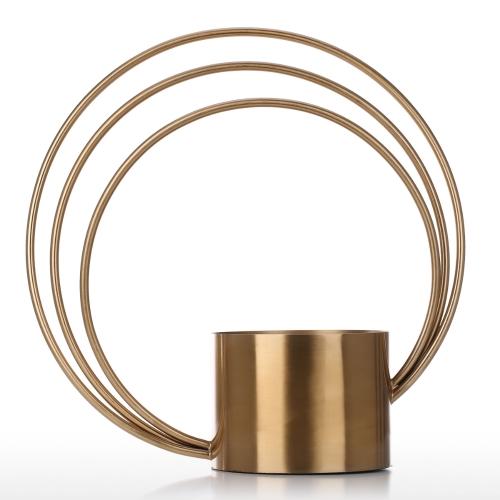 Ronda de flor de maceta de metal Ornament Cilindro forma de metal de mano de jarrón De moda ornamento central decorativa para el hogar o de la boda Tabletop decorativa