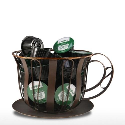 Brown Coffee Pod Container Espresso Pod Holder Coffee Mug Storage Basket