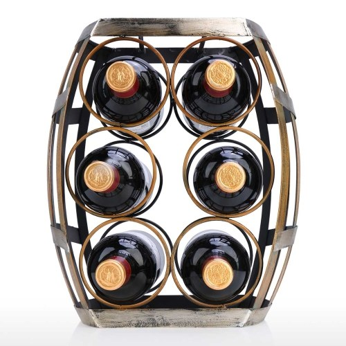Tooarts 6 Flaschen Weinregal Tabletop Barrel Weinregal Robustes Eisen Material Handgemachtes Handwerk Display und Lagerregal Wohnkultur (6 Flaschen Anzug)