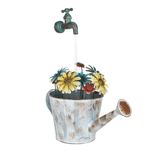 Tooarts Outdoor Iron Fountain Flower Pot Fountain Water Pump Cascading Water Fountain Decorative Stopcock Garden Decoration(US plug)