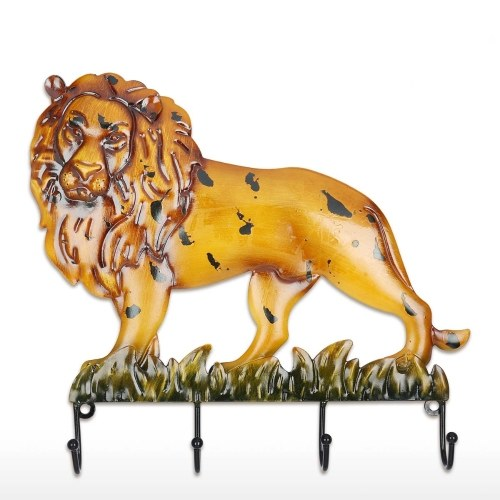 Tooarts Lion King Wall Hook Decorative Iron Wall Hanger Wall Mounted Coat, Key, Hat Hook Vintage Design Hanger with 4 Hooks Screws Included