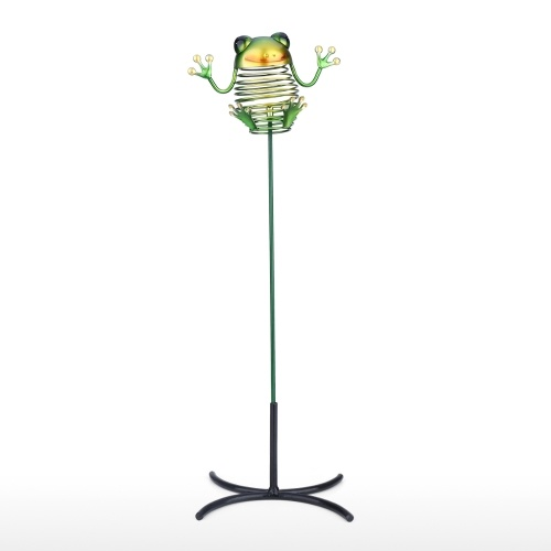 Tooarts Frog Stake Iron Animal Stake Détachable Stick avec Base Garden ou Yard Decor Flowerpot or Desk Deco 16.9''