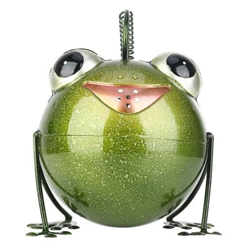 Tooarts Cartoon Frog Watering Pot Iron Animal Watering Can Garden Sprinkle Kettle Fairy Garden Decoration Children DIY Gardening Green