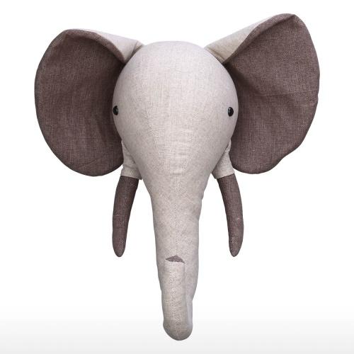 Tooarts | Cabeza de elefante Colgante de pared Cabeza de animal de dibujos animados Decoración de pared Decoración de la habitación Calidad Algodón Cáñamo Material Adorno infantil Cultivar Imaginación Regalo especial para niños