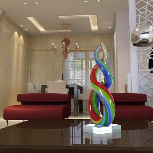 Tooarts colorato Scultura del nastro di vetro Home Decor Abstract Ornament regalo decorazione del mestiere