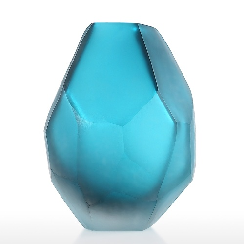 Blue Glass Vase Flower Vase Glass Elegant Decorative Vase Filler Vase Decoration for Living Room Home Office Decor