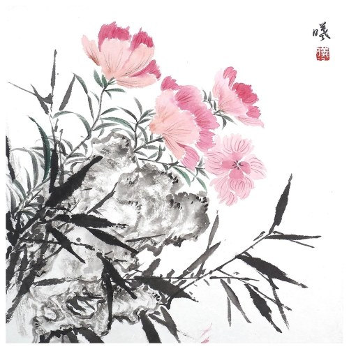 Tooarts Fragrant of Flowers Chinese Flower Painting Wall Art Artist Hand-Painted Chinese Brush Painting Traditional Decoration Home Office Decoration Painting Carefully Packed
