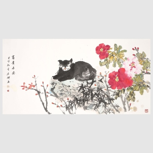 Peony and Lazy Cat Flower Painting Vivid Flower Print Wall Art Painting Decor for Home Decoration Hanging Artwork