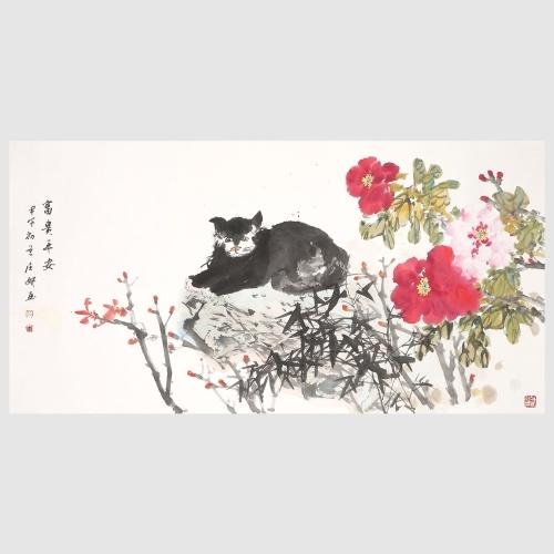 Pfingstrose und faule Katze Blume Malerei lebendige Blumendruck Wand Kunst Malerei Dekor für Heimtextilien hängen Kunstwerk