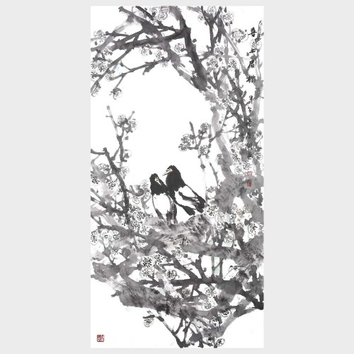Plum Blossom and Magpie Flower and Bird Painting Natural Art Landscape Paintings on Wall Han Painted Artwork