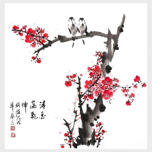 Traditional Chinese Painting Fragrance Permeated the Heaven and Earth Wall Art Decor for Living Room Bedroom