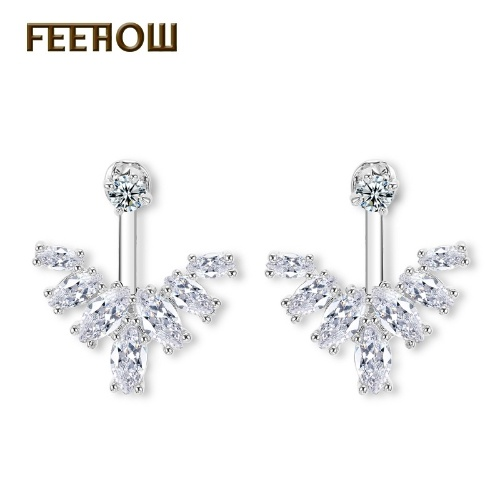Zircon simple leaves after hanging temperament earrings