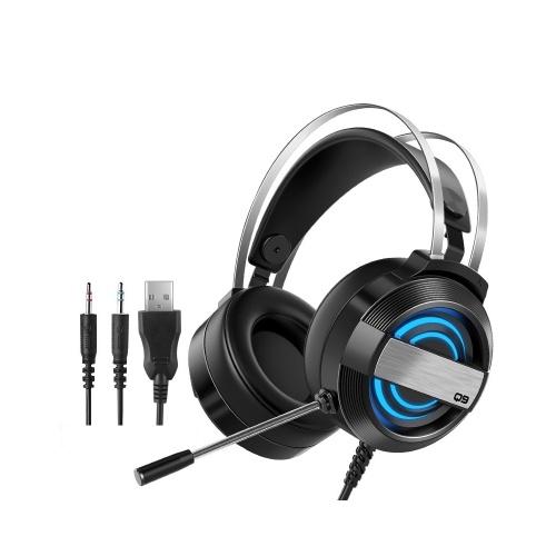 Q9 Gaming Headset Kabelgebundenes Gaming Headset mit 360 ° Rauschunterdrückungsmikrofon Bunter Atemlichtkopfhörer 3,5 mm + USB Schwarz