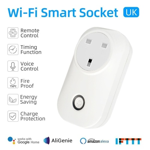 Tuya Mini Smart WiFi Socket UK Remote Control by Smart Phone from Anywhere Timing Function, Voice Control for Amazon Alexa and for Google Home IFTTT