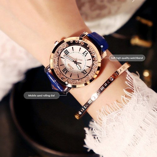 Ins super fire vibrating watch chic female middle school students Korean version of the net red rhinestone leisure starry trend current rhinestone female white фото