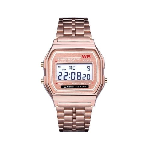 LED Digital Watch Harajuku style Fashionable Stylish Multifuncional Wristwatch with Steel Strap Band