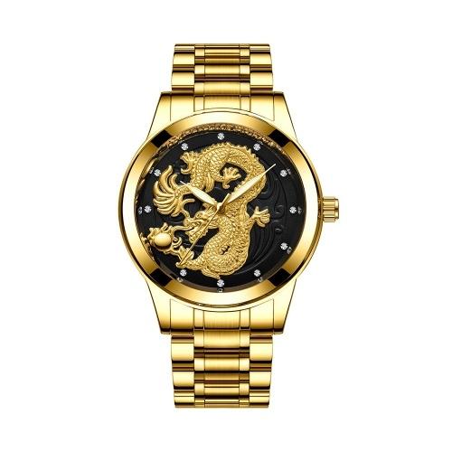 Dragon and Phoenix Couple Watch Orologi da uomo e da donna Orologio al quarzo ultrasottile luminoso impermeabile per uomo Donna con cinturino in metallo