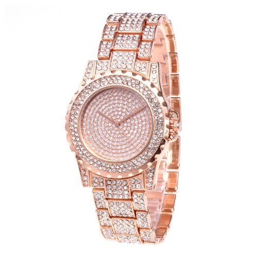 Crystal Starry Quartz Women Watch Fashionable Casual Alloy Skeleton Watch Wristwatch for Lady