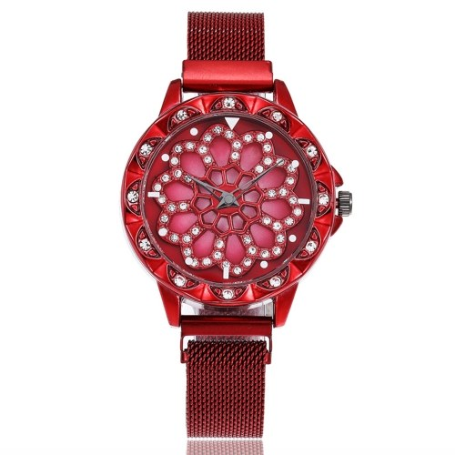 Fashionable Crystal Women Watch Flower Dial Face Maganet Watch Wristwatch with Weave Knitted Strap Band
