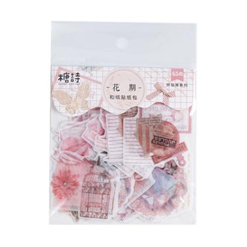 45PCs/pack Transparent Washi Paper Deco Stickers Set