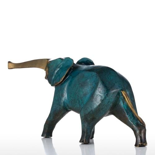 Синий Крошечный слон Бронзовая скульптура Медные украшения Слон животных