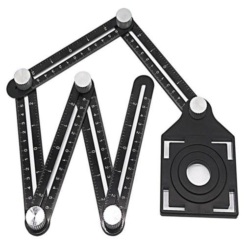 マルチアングル測定定規6面穴ポジショニング調整可能なトレーステンプレートツールフローリングタイル成形建設ビルダー木工DIY