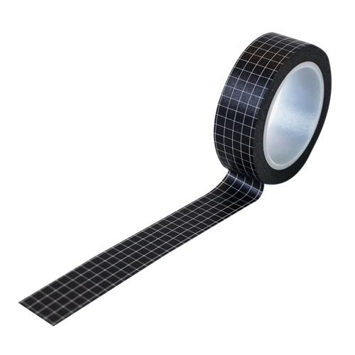 Grid Washi Tapes Nastri decorativi per mascheratura Adesivi adesivi Carta scrivibile per Bullet Journal Planner per album Artigianato fai-da-te   Colori solidi (Nero)