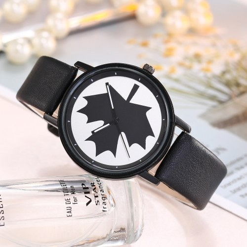 Women Maple Pattern Wrist Watch Lady Fashion Alloy Case Leather Band Quartz Watch