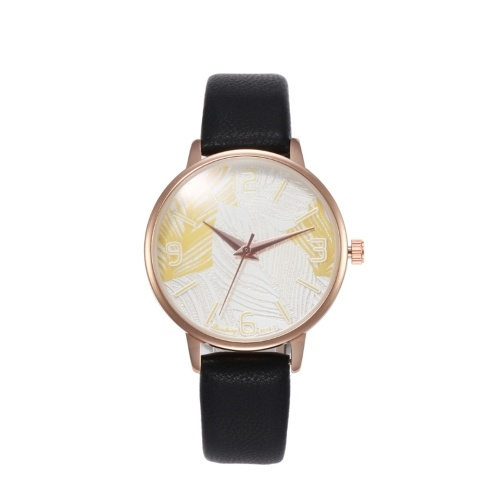 Women Fashion Exquisite Feather Pattern Dial Leather Band Alloy Case Quartz Wrist Watch