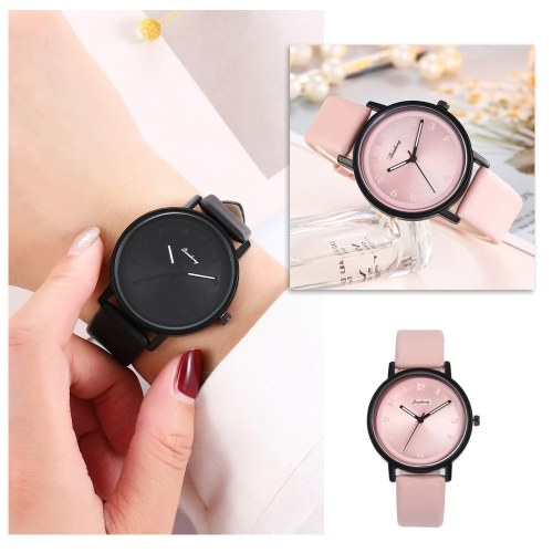 Lady Fashion Simple Quartz Watch Women Casual Alloy Case Leather Band Wrist Watch