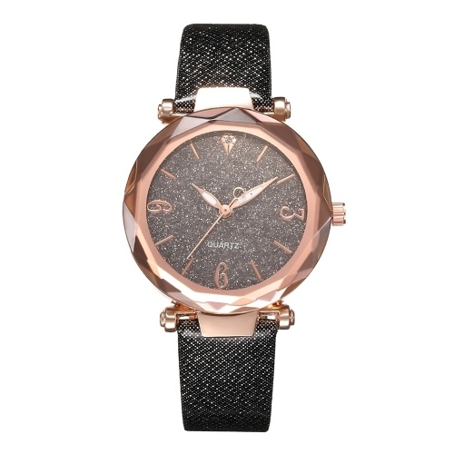 Women Fashion Casual Starry Night Dial Quartz Watch Exquisite Leather Band Alloy Case Wrist Watch