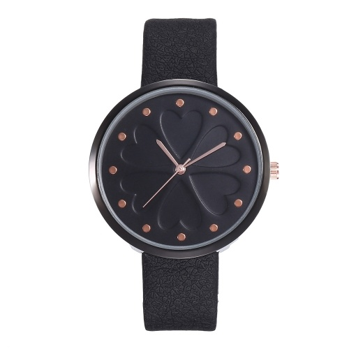 Women Four-Leaf Clover Pattern Rivet Time Dial Watch